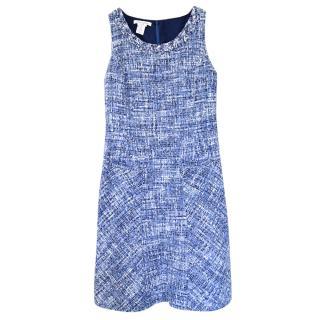 Oscar de la Renta blue boucle-tweed shift dress