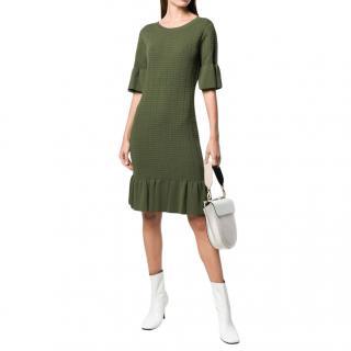 Michael Michael Kors Green Stretch Knit Flounce Dress