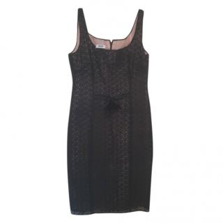 Moschino Black Lace Fitted Sleeveless Dress