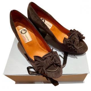 Lanvin Suede Embellished Block Heel Pumps