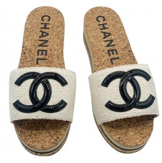 Chanel Tweed CC Cork Slides