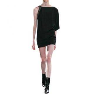 Saint Laurent Crystal Embellished Black Mini Dress