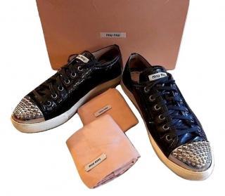 Miu Miu Patent Studded Cap Toe Sneakers