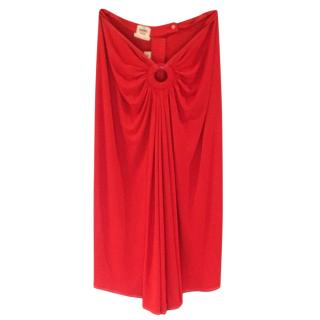 Hermes Red Lightweight Ruched Skirt