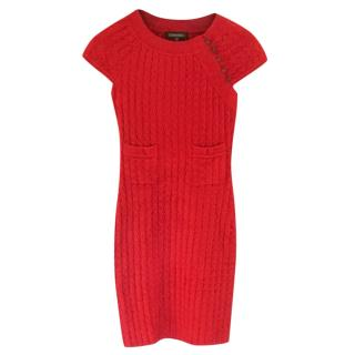 Chanel Red Stretch Knit Fitted Dress