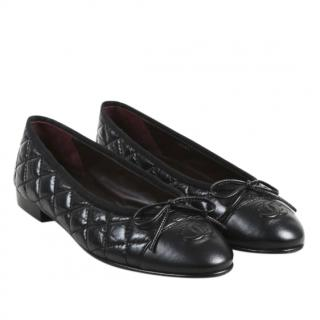 Chanel Black Quilted Leather Ballerina Flats