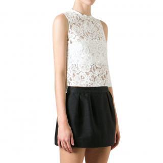 Saint Laurent white lace sleeveless top