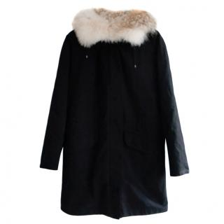 Yves Salomon ARMY Black Fur Trim Coat