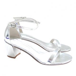 Stuart Weitzman Silver Simple Sandals