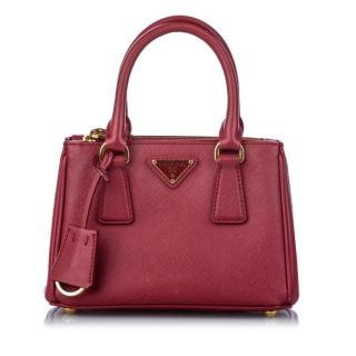 Prada Mini Saffiano Lux Galleria Double Zip Satchel