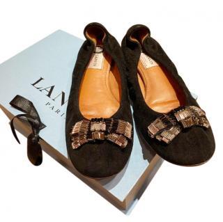 Lanvin Black Embellished Suede Ballerina Flats