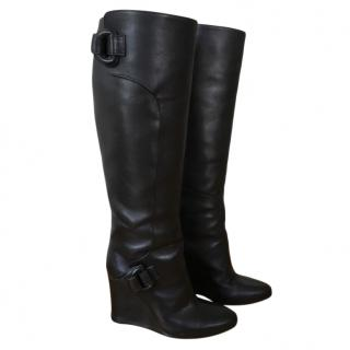 Balenciaga Black Leather Wedge Knee Boots