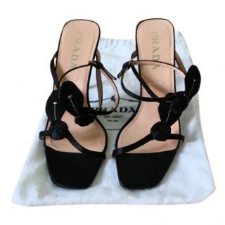 Prada Black Satin Strappy Sandals