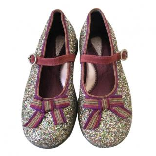 Simonetta Girls Glitter Bow Detail Shoes