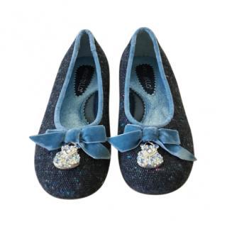 Simonetta Girls black tweed shoes