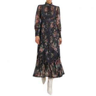 Zimmermann Silk Unbridled Tucked Dress In Ash Garden