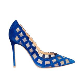 Gianvito Rossi Diamond Cutout Suede Mesh Pumps
