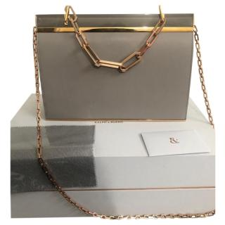 Ralph & Russo Grey Leather Chain Flap Bag