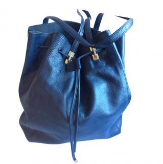Paul Costelloe Blue Leather Drawstring Backpack