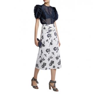 Self Portrait navy and white floral sequin midi skirt