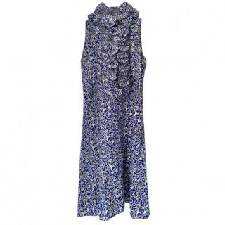 Marni Blue & White Print Ruffled Dress