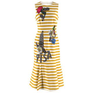 Dolce & Gabbana Yellow & White Striped Embellished Pisa Midi Dress