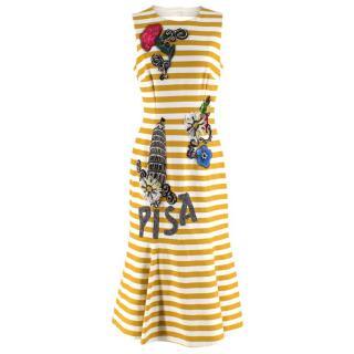 Dolce & Gabbana Yellow & White Striped Embellished Pisa Midi Dress