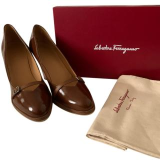 Ferragamo Marron Glace Wooden Heel Pumps