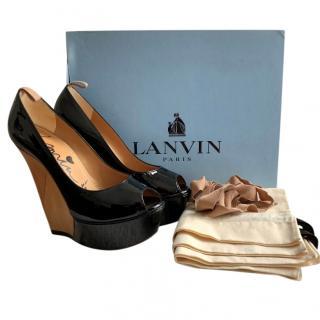 Lanvin Black Patent Leather Wooden Wedge Pumps