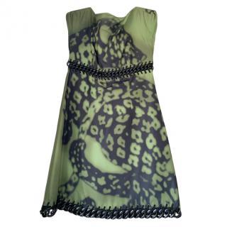 Prada Khaki Leopard Print Chain Trim Mini Dress
