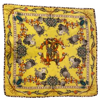 Roberto Cavalli Yellow Silk Printed Scarf
