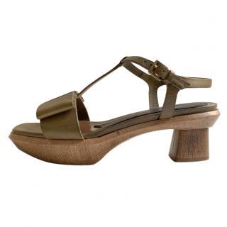 Marni Khaki Leather Mary-Jane Sandals