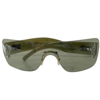 Gucci green transparent perspex shield sunglasses
