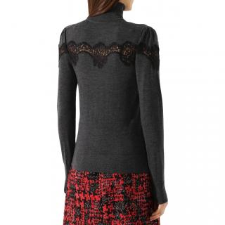 Dolce & Gabbana grey lace appliqu�  wool jumper