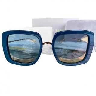 Elie Saab blue square frame acetate sunglasses