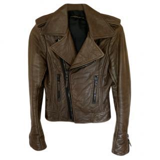 Balenciaga khaki leather moto jacket