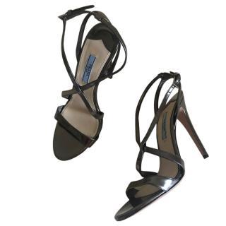 Prada metallic silver leather sandals