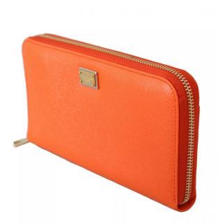 Dolce & Gabbana orange leather bifold clutch wallet