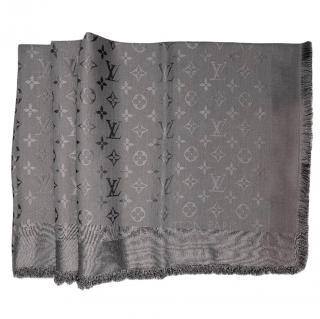 LOUIS VUITTON silk/wool blend gray monogram shawl