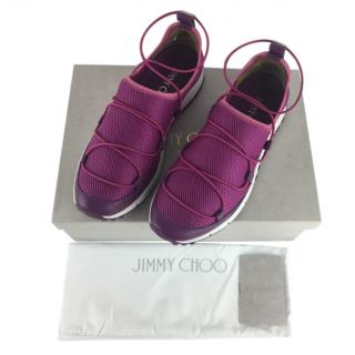 Jimmy Choo metallic pink mesh Andrea slip on trainers