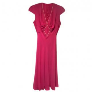 Libelula Pink Silk Cap-Sleeve Dress