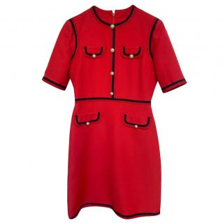 Gucci Red Wool Blend Dress with Faux Pearl Button