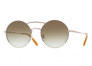 Oliver Peoples Nickol Brushed Gold Round Sunglasses