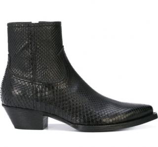 Saint Laurent Black Python Leather Lukas Ankle Boots