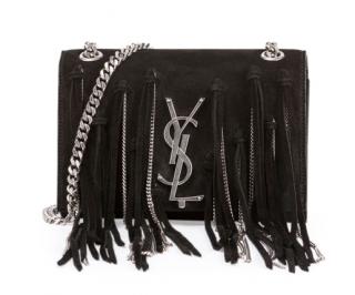 Saint Laurent Monogram Small Suede Shoulder Bag w/Chain Fringe