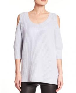 Zoe Jordan Blue Dias Wool & Cashmere Cold-shoulder Sweater