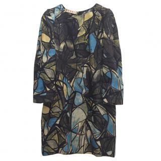 Marni Floral Print Silk & Wool Shift Dress