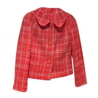 Tara Jarmon Red Checked Boucle Jacket