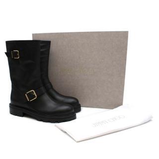 Jimmy Choo Biker II Boots in Soft Black Leather