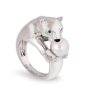 Cartier White Gold Panther Ring with Single Pearl